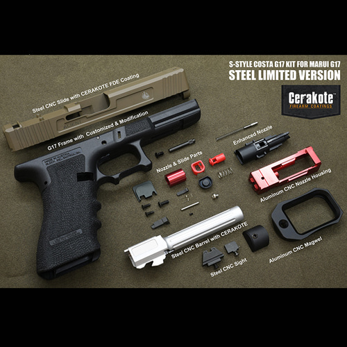 [입고 완료]ModelWork Custom Steel S-style Costa G17 RMR Kit for WE/Marui G17/G22/G34